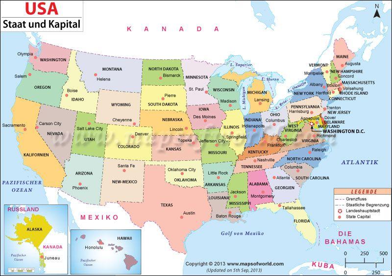 Landkarte Us Bundesstaaten Und Ihre Hauptstadte Usa Karte Landkarte Usa Amerika Karte