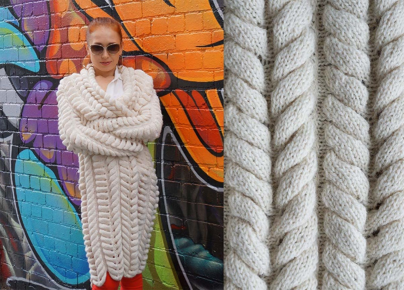Женское теплое вязаное платье спицами на osinka