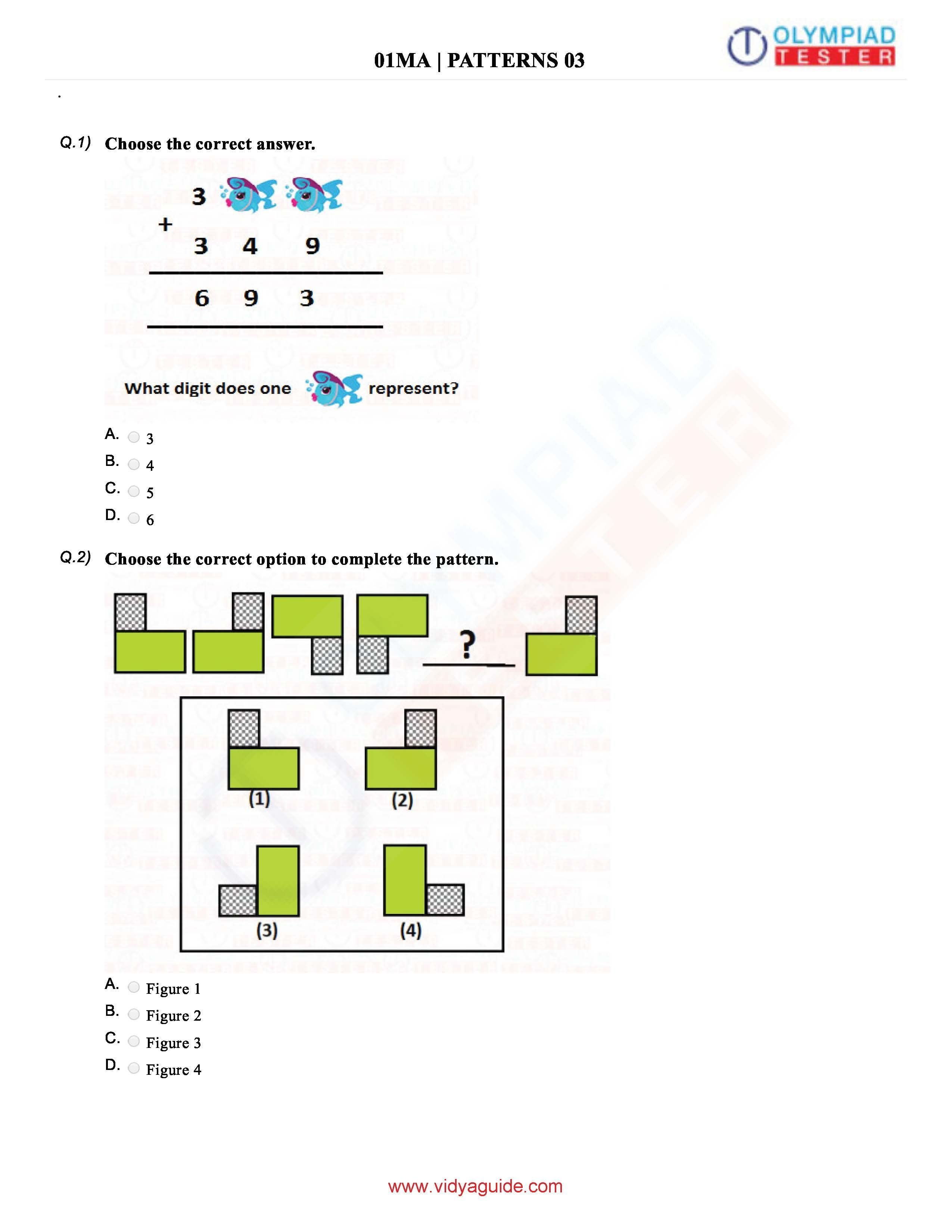 Download Grade 1 Maths Olympiad Sample Papers As Pdf Worksheets On
