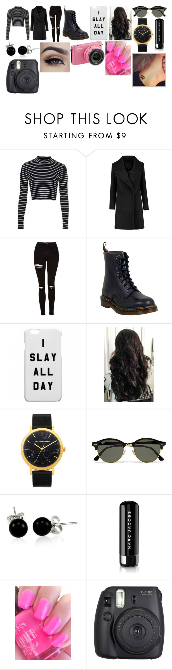 """""""Untitled #624"""" by athenajasminereyes ❤ liked on Polyvore featuring Topshop, Dr. Martens, Ray-Ban, Bling Jewelry, Marc Jacobs, Nikon and Fuji"""