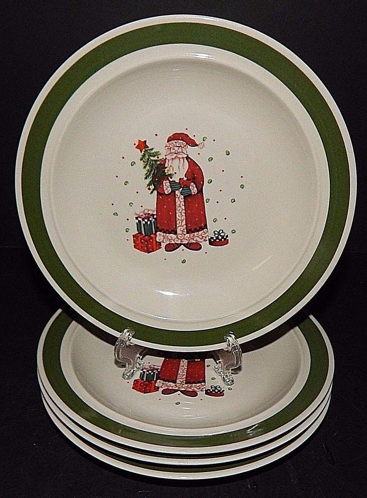 4 Christmas Holiday Santa Claus Present Tree Dessert Plates Green Rim Stoneware & 4 Christmas Holiday Santa Claus Present Tree Dessert Plates Green ...