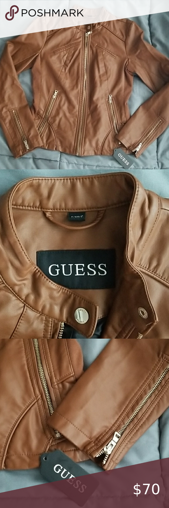 Nwt Guess Faux Leather Moto Jacket New Brown Faux Leather Moto Jacket Leather Moto Jacket Leather Moto [ 1740 x 580 Pixel ]