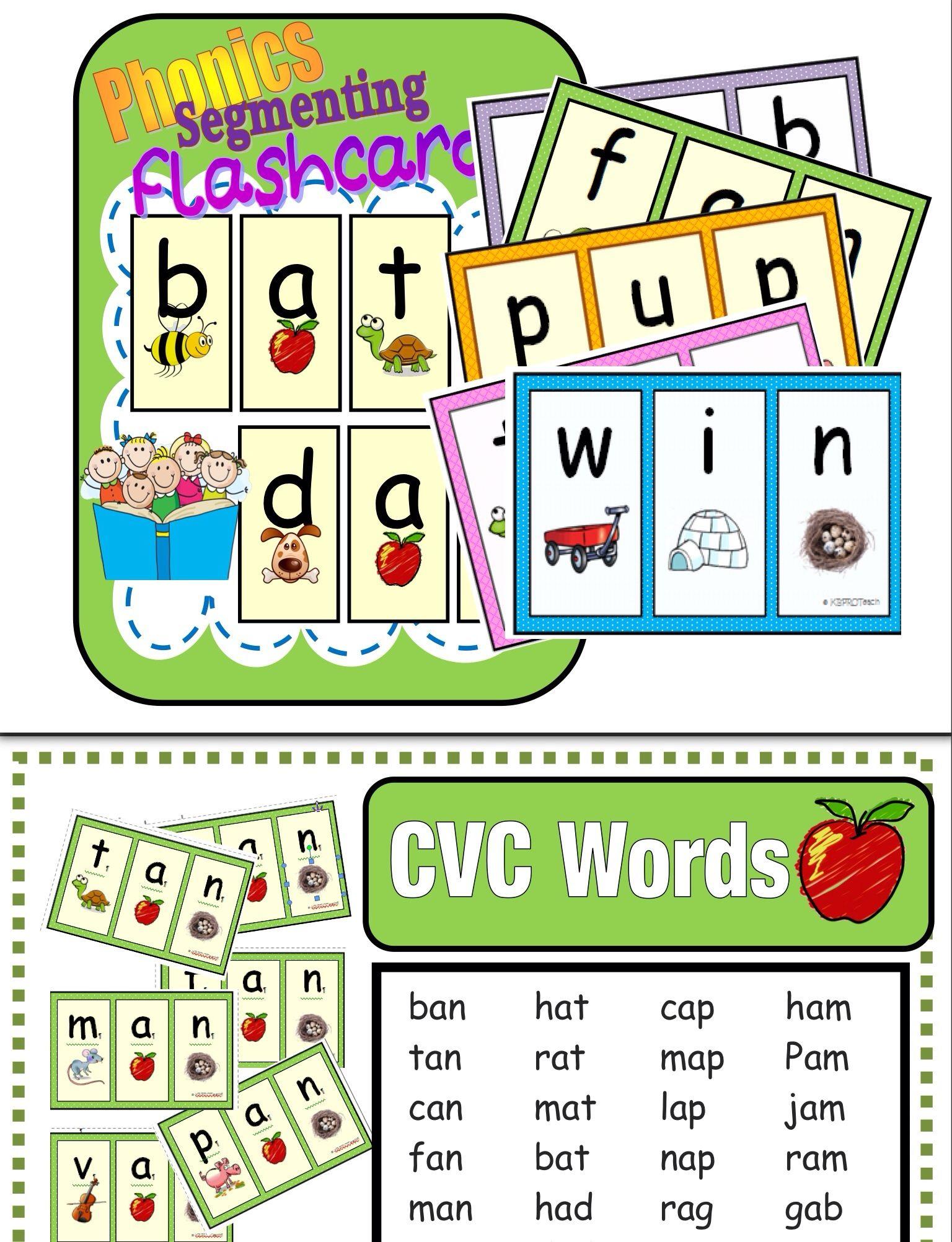 Segmenting Amp Phonemic Awareness Cards Decoding Cvc Words Level 1