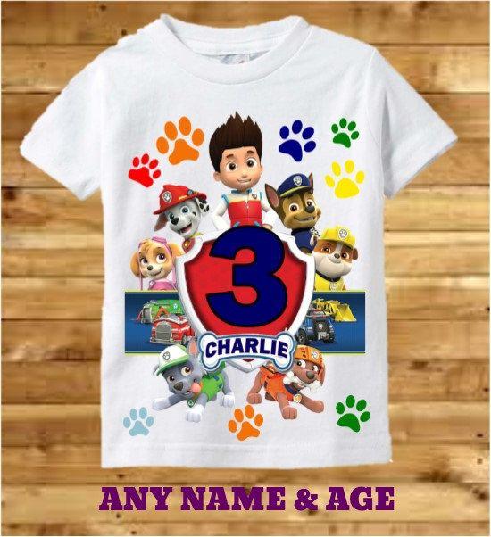 Paw Patrol Birthday Boy Chase Personalised Boys Girls T-Shirt Age 3 Gift//Present