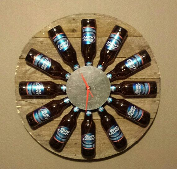 Bud Light clock made with upcycled pallet wood, red ...
