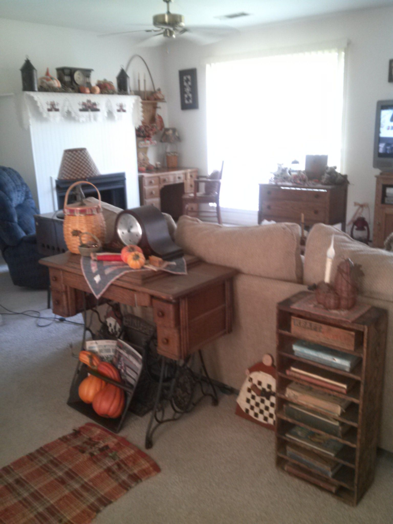 Antique sewing machine with fall punkins