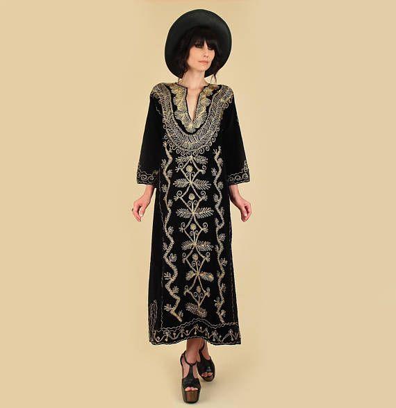 b7c6ca7dcf5 Vintage Turkish Henna Night Black Velvet Maxi Dress 1960s 60s 1970s 70s  Woodstock Era Black Velvet Maxi Dress Hand Embroidered Gold Bohemian  Hellhound ...