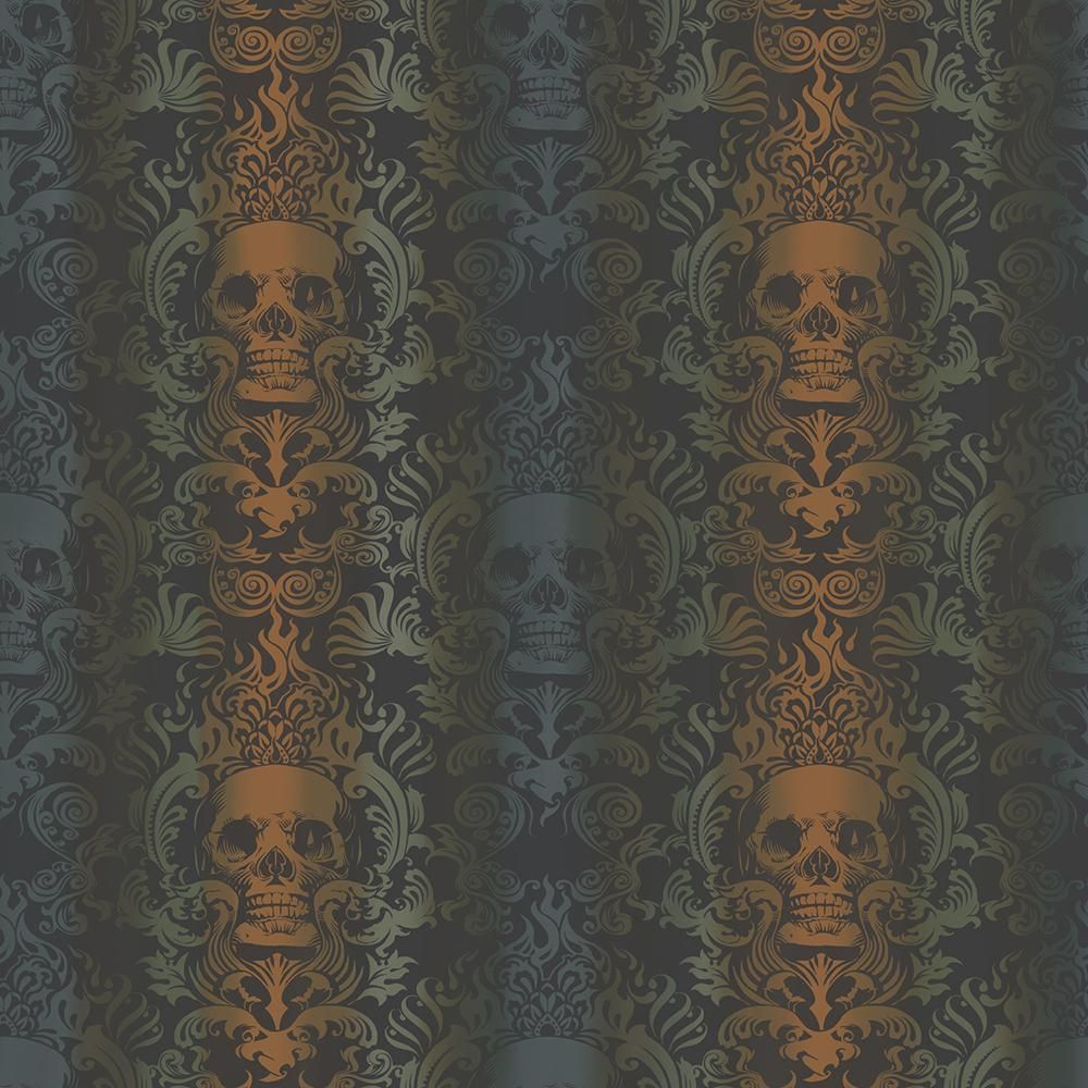 Chesapeake Luther Orange Skull Modern Damask Wallpaper