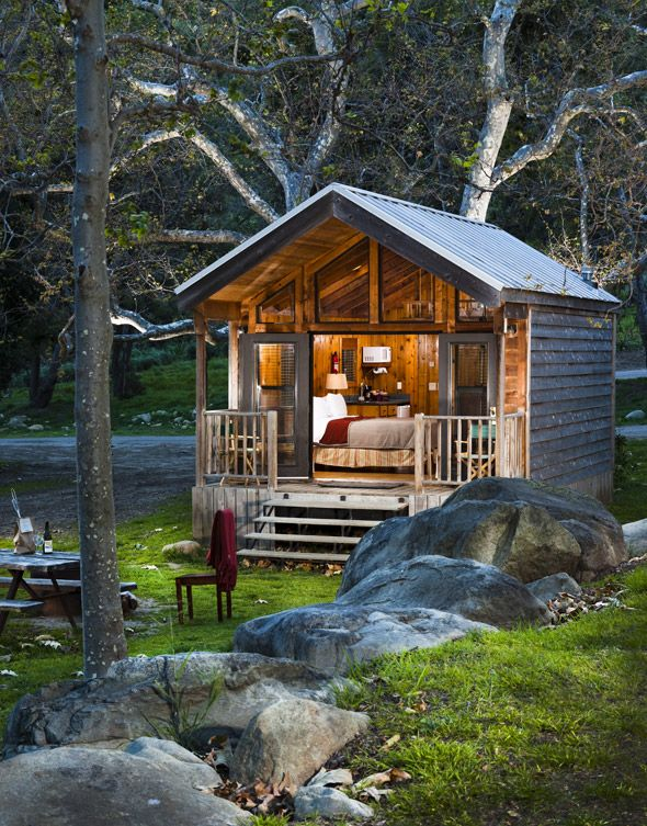 Creekside queen cabin el capitan canyon santa barbara for Tiny house santa barbara
