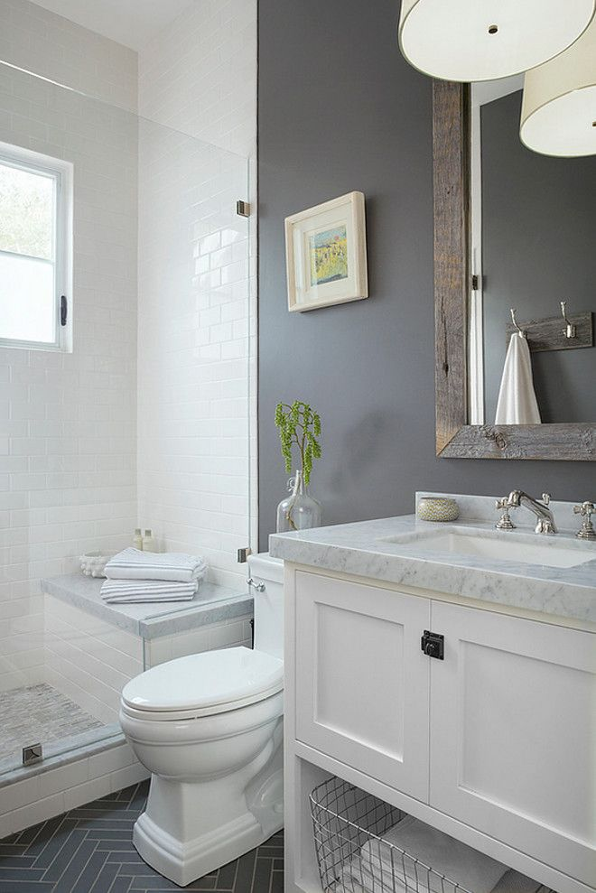 Small Grey White Bathroom Love The Bench In The Shower And The Contrasting Colors Bathroom Remodel Master Bathroom Design Small Small Master Bathroom