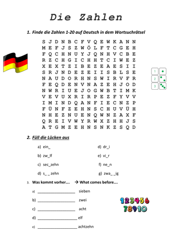 Die Zahlen (German numbers) worksheet | Pracovní listy | Pinterest ...