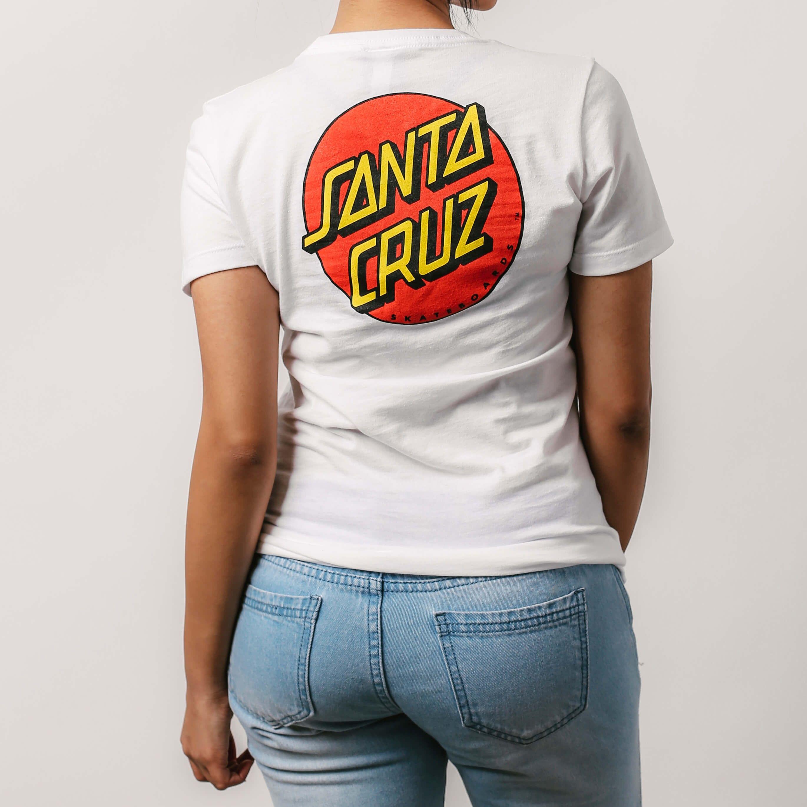 f4c6d6010 Santa Cruz Classic Dot Fitted Tee White | T-Shirts | Womens Clothing |  Clothing