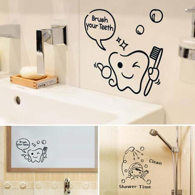 Diy Funny Bathroom Wall Sticker Glass Door Waterproof Wall Decals