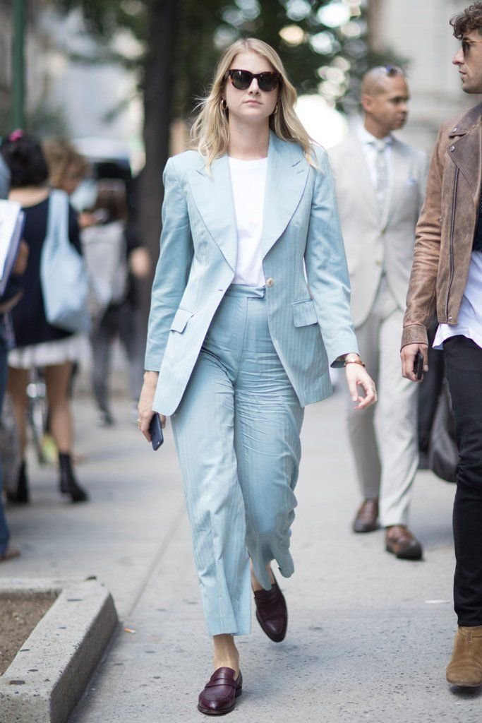62a2bdaef9381 Light blue pant suit for women | For more style inspiration visit  40plusstyle.com