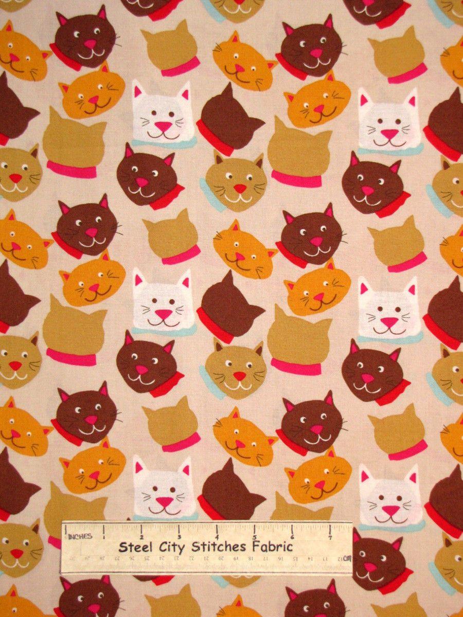Meow Kitty Cat Kitten Feline Animal Head Toss 830castle Cotton Fabric Yard Fabric Yard Cats And Kittens Animal Heads
