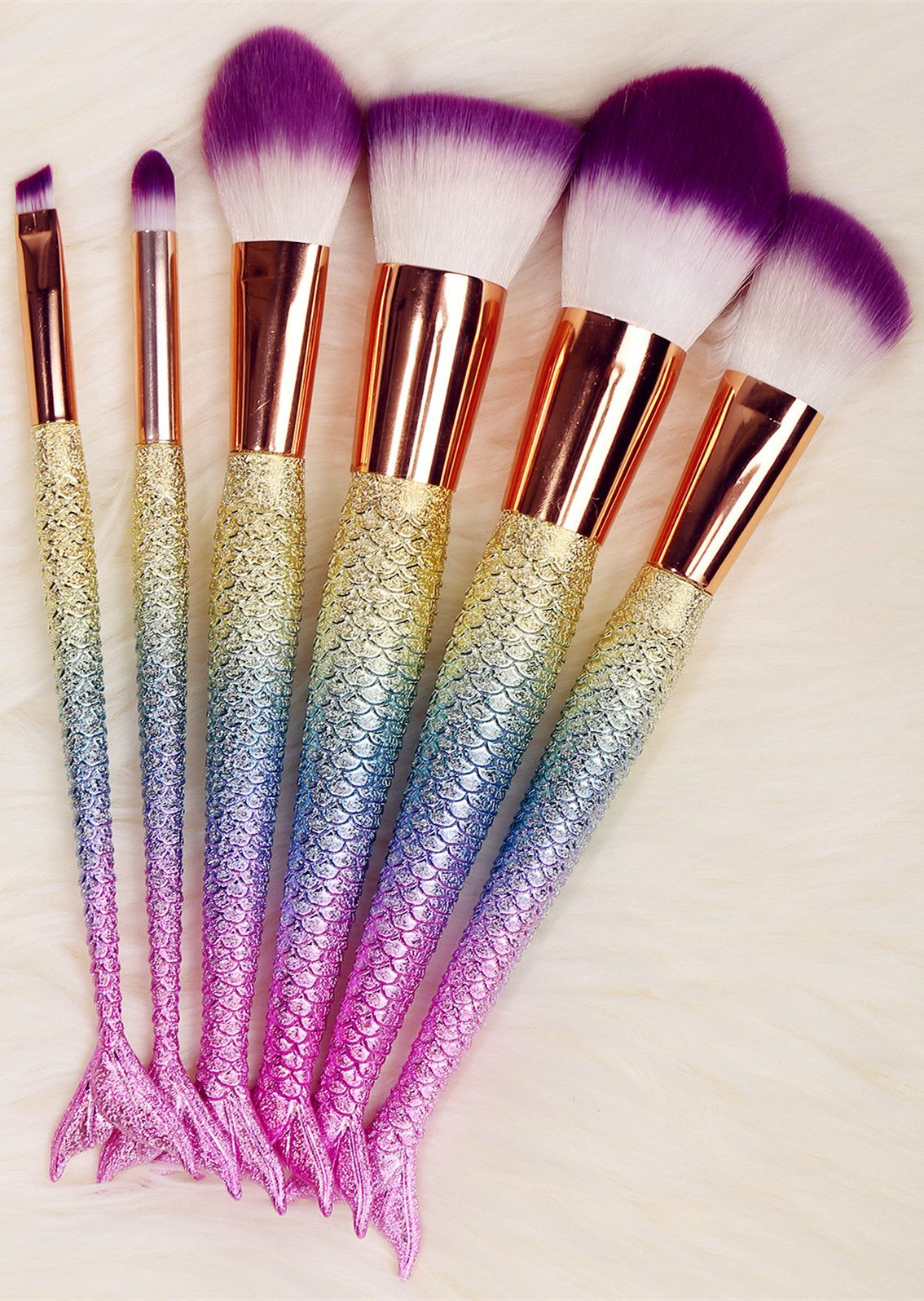 11.73 6 Pcs Mermaid Shape Multifunction Makeup Brush Set