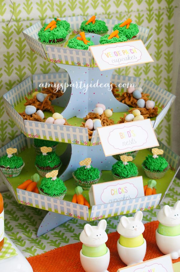 Cupcake Stand Easter Or Bunny Birthday Party Dessert Table Ideas From AmysPartyIdeas