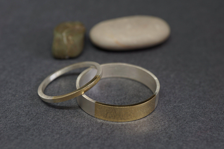 Two Geometric Silver Rings Combo Set.