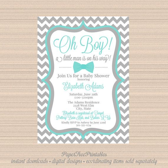 Little Man Baby Shower Invitation BowTie by PaperTreePrintables