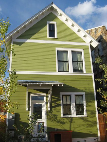 green exterior with white trim Modern House Paint Color Ideas