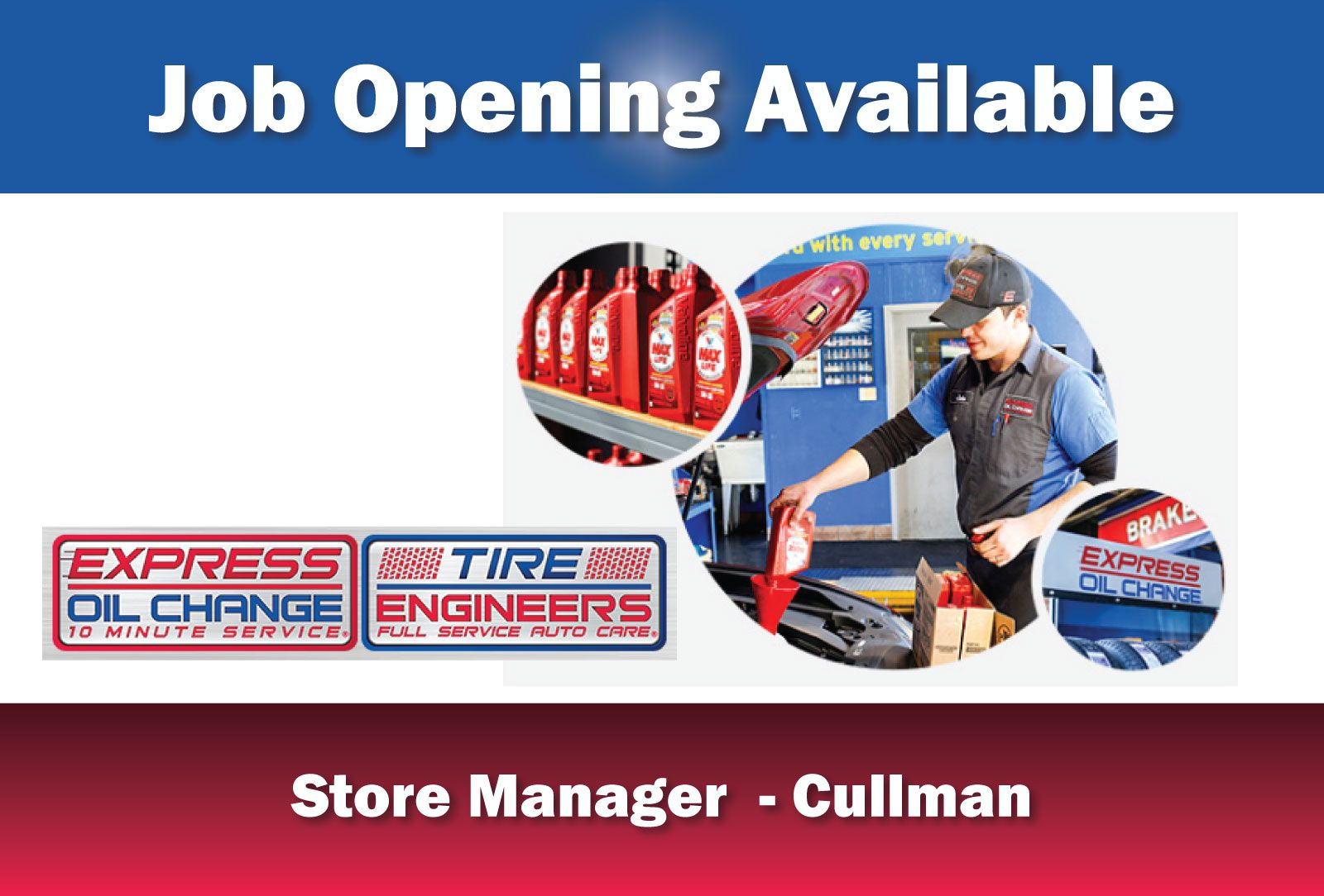 JOB OPENING AVAILABLE STORE MANAGER EMPLOYER Express Oil