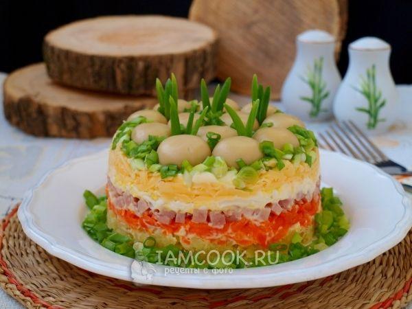 Салат «Грибная поляна» с ветчиной — рецепт с фото | Рецепт ...