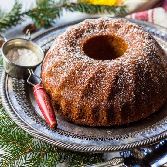 This Honey Pecan Bundt Cake is a fuzzy slippers, cozy up by the fire with a warm cup of tea kind of cake! It's so easy too!
