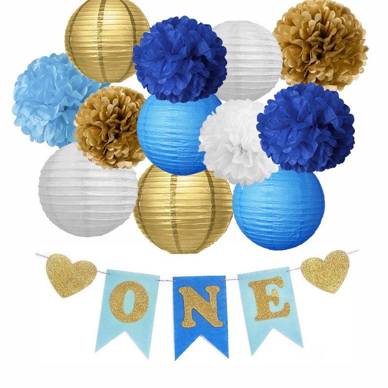 BOYS FIRST BIRTHDAY Blue Gold Flower Poms & Lantern | Etsy