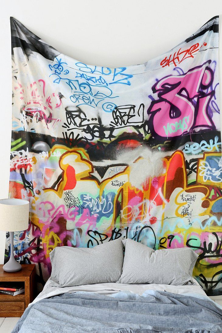 Graffiti tapestry in 2019 home decor posters - Painting graffiti on bedroom walls ...