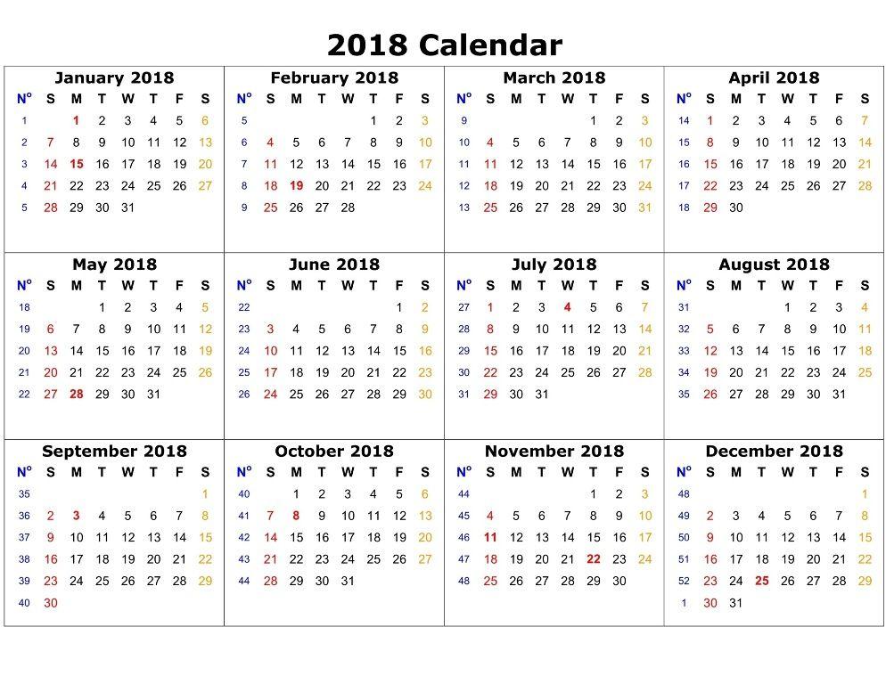 Printable 12 Month Calendar 2018 2018 Calendar Template Yearly