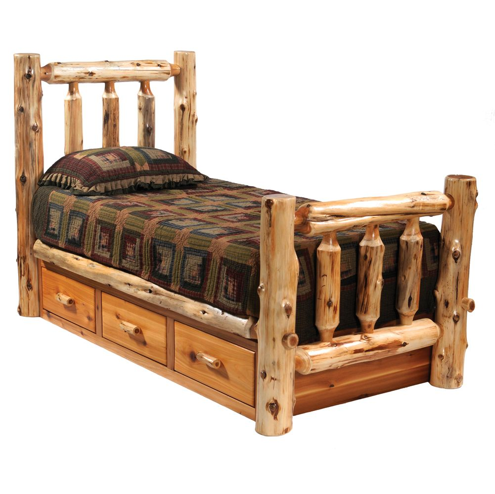 log bed with drawers