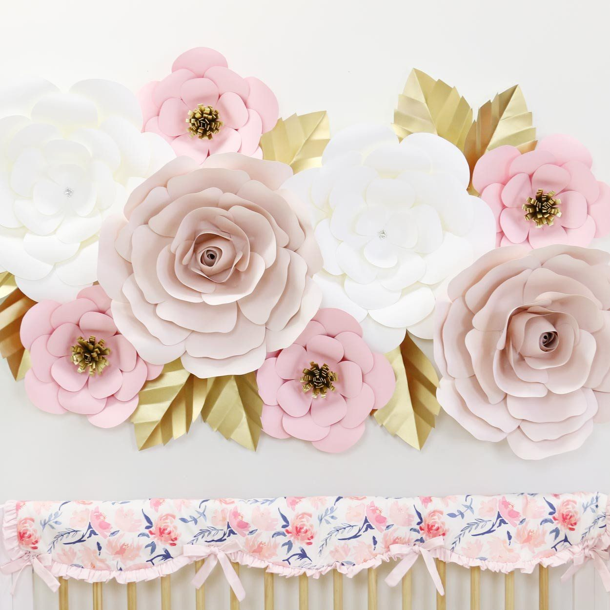 Blush White And Gold Large Paper Wall Flowers For Nursery Wall