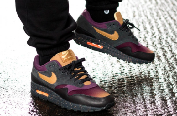 6d542e585c6d Elemental Gold  amp  Pro Purple Shine On This Nike Air Max 1 Premium  Perforated suede