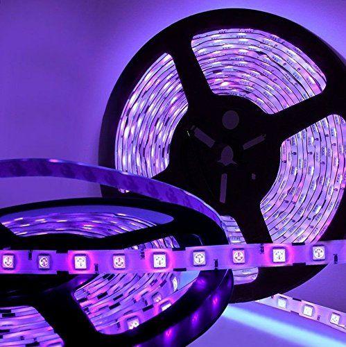 Amars Waterproof Dc 12v 5m 16 4ft 5050 Led Uv Ultraviolet 395nm 405nm Light Strip Purple Blacklights Led Light Bulb Lighting Bulbs Fittings Ideas Black Light Led Rgb Led Strip Lights Led Lights