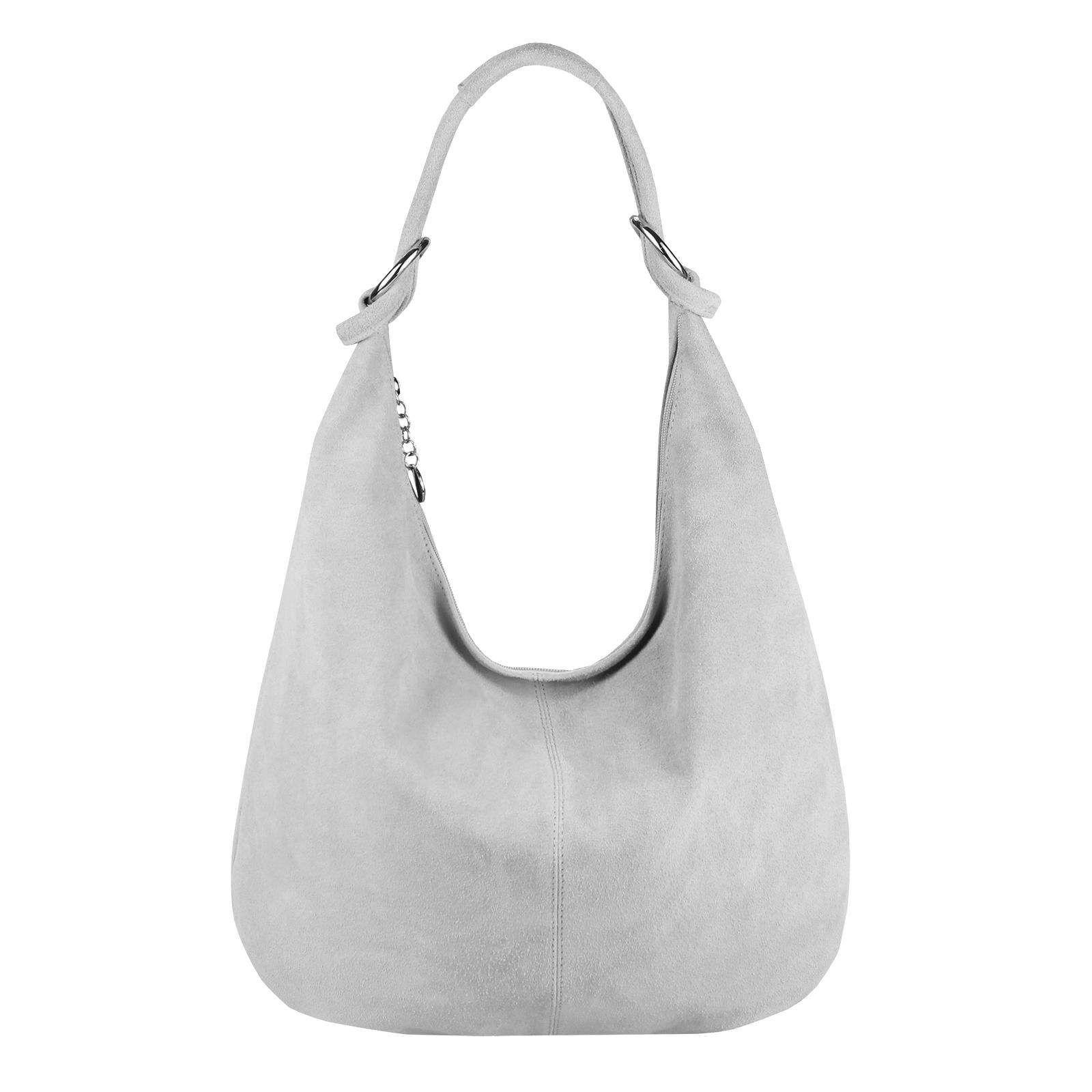 fc9742bf4d3a7 Made in Italy Damen XXL Ledertasche Wildleder Shopper Tasche Schultertasche  Umhängetasche Hobo-Bag Beuteltasche Hellgrau