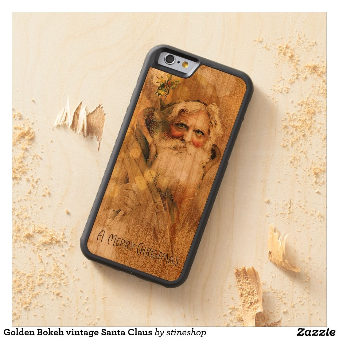 Golden Bokeh vintage Santa Claus Carved® Cherry iPhone 6 Bumper Case