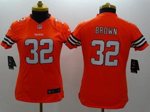 new style ff809 2966e Nike Browns #32 Jim Brown Orange Alternate Women's Stitched ...