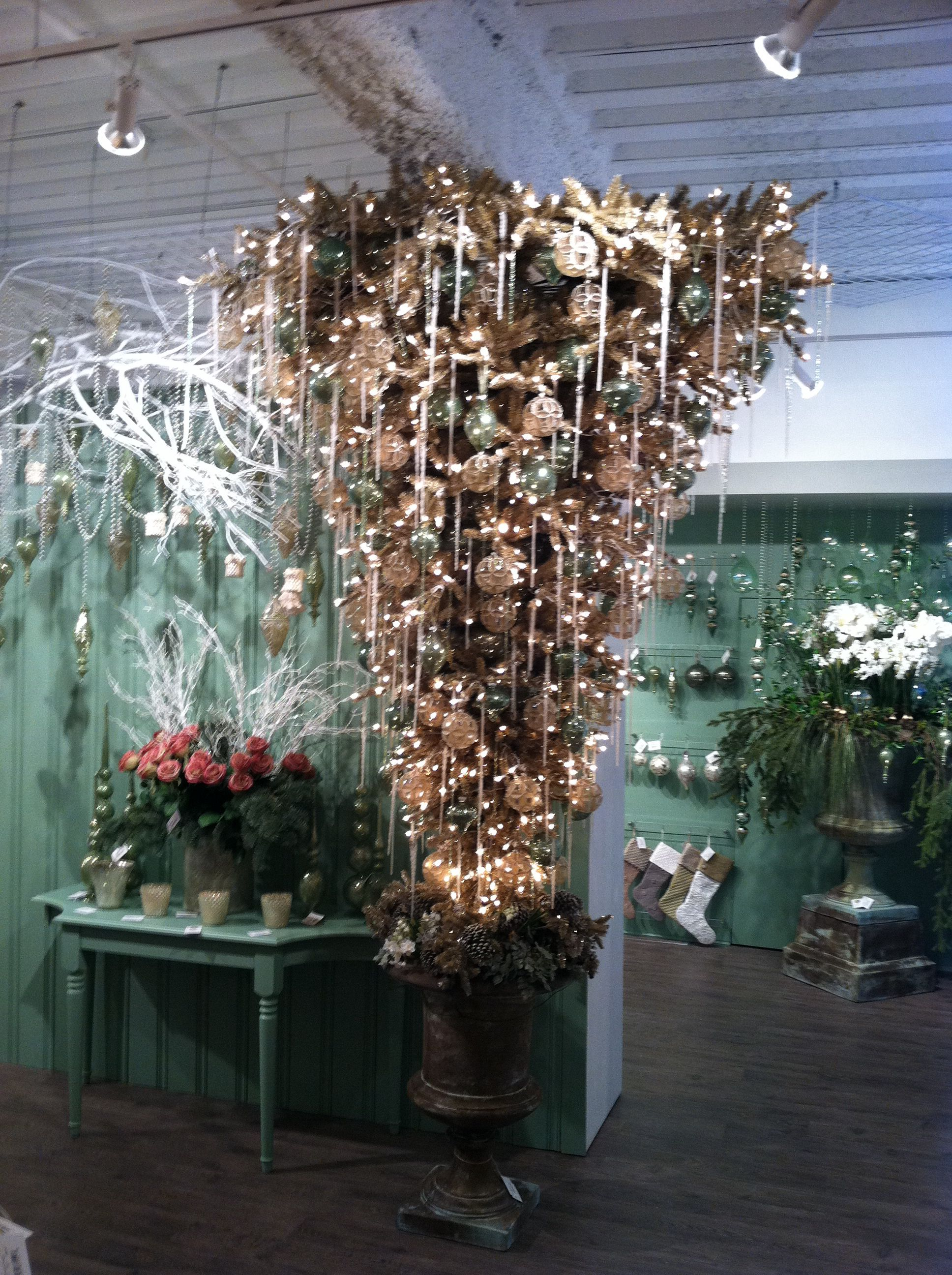 Upside down Christmas tree- hey who says you have to follow convention? Seen at The Dallas Trade Mart showrooms