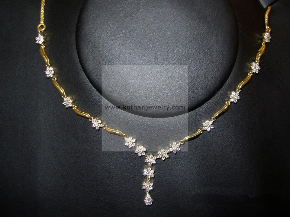 Simple gold necklace | Diamond / CZ / American Diamond Jewellery ...