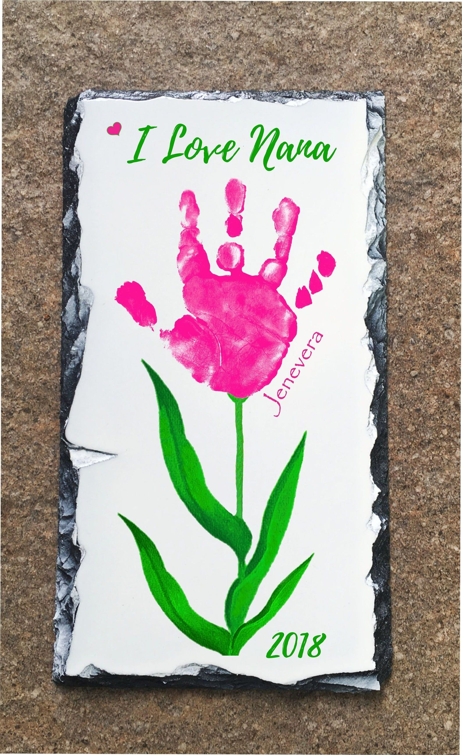 Baby hand and footprint flower slate using childs actual