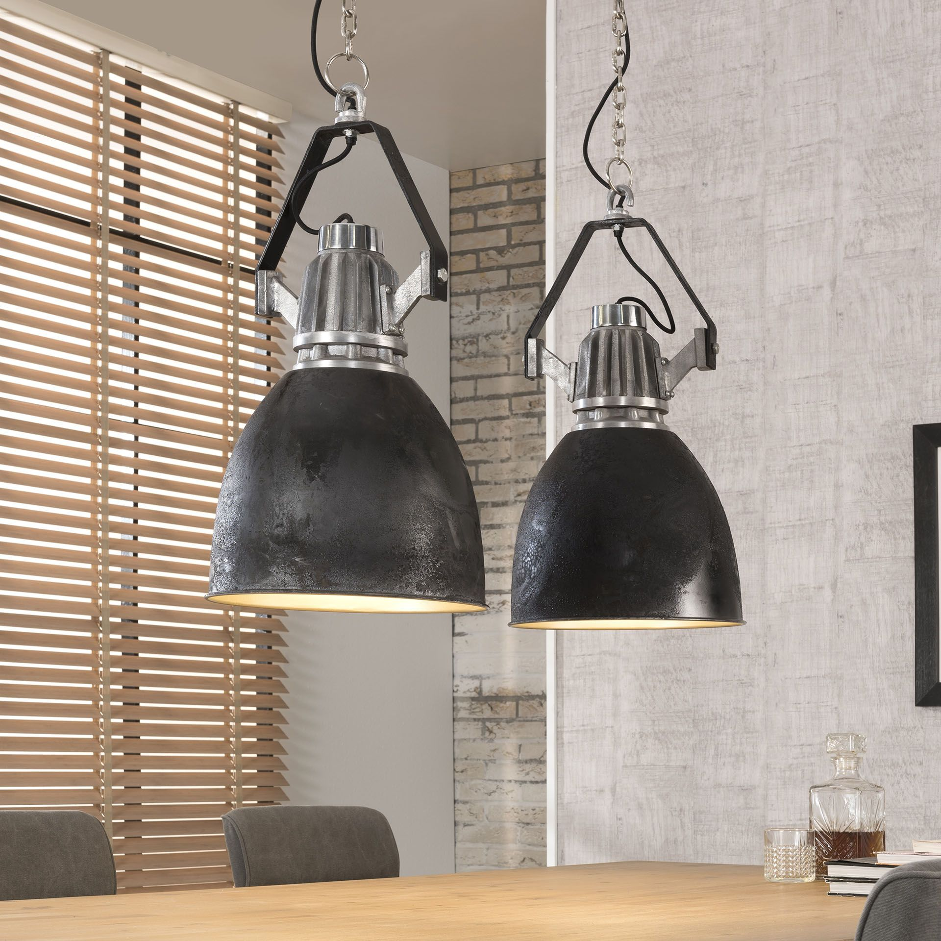 Cute Industie Lampe schwarz silber H ngeleuchte im Industriedesign