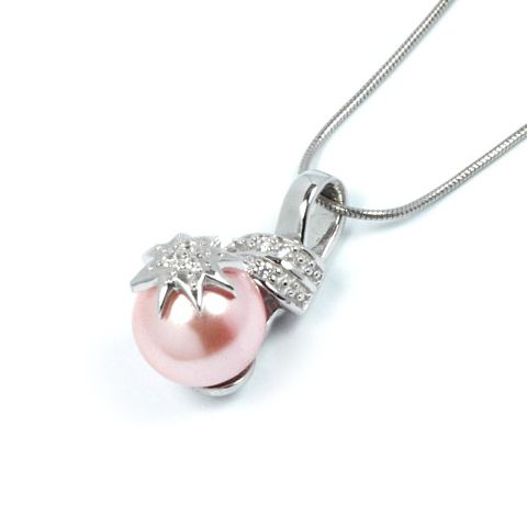 Stříbrný přívěsek Silvego se syntetickou růžovou perlou TXP408865