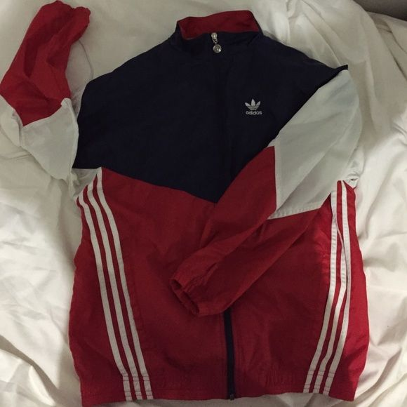 Adidas Red White And Blue 90 S Windbreaker Red Adidas 90s