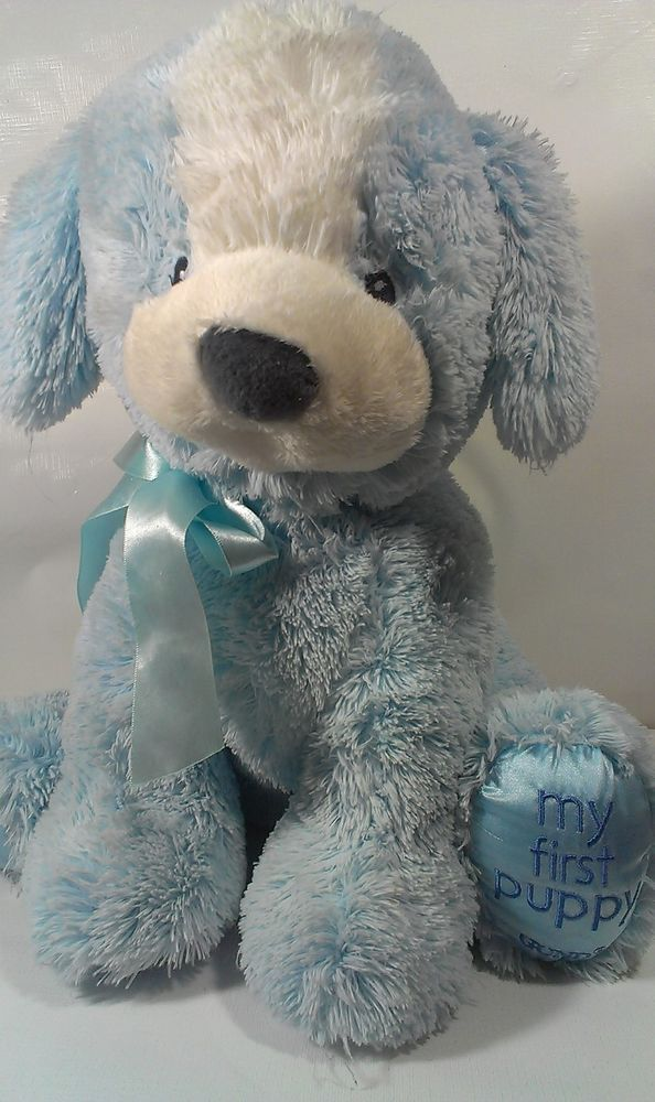 Gund Large 16 My First Puppy Baby Soft Stuffed Blue Dog Sewn Eyes