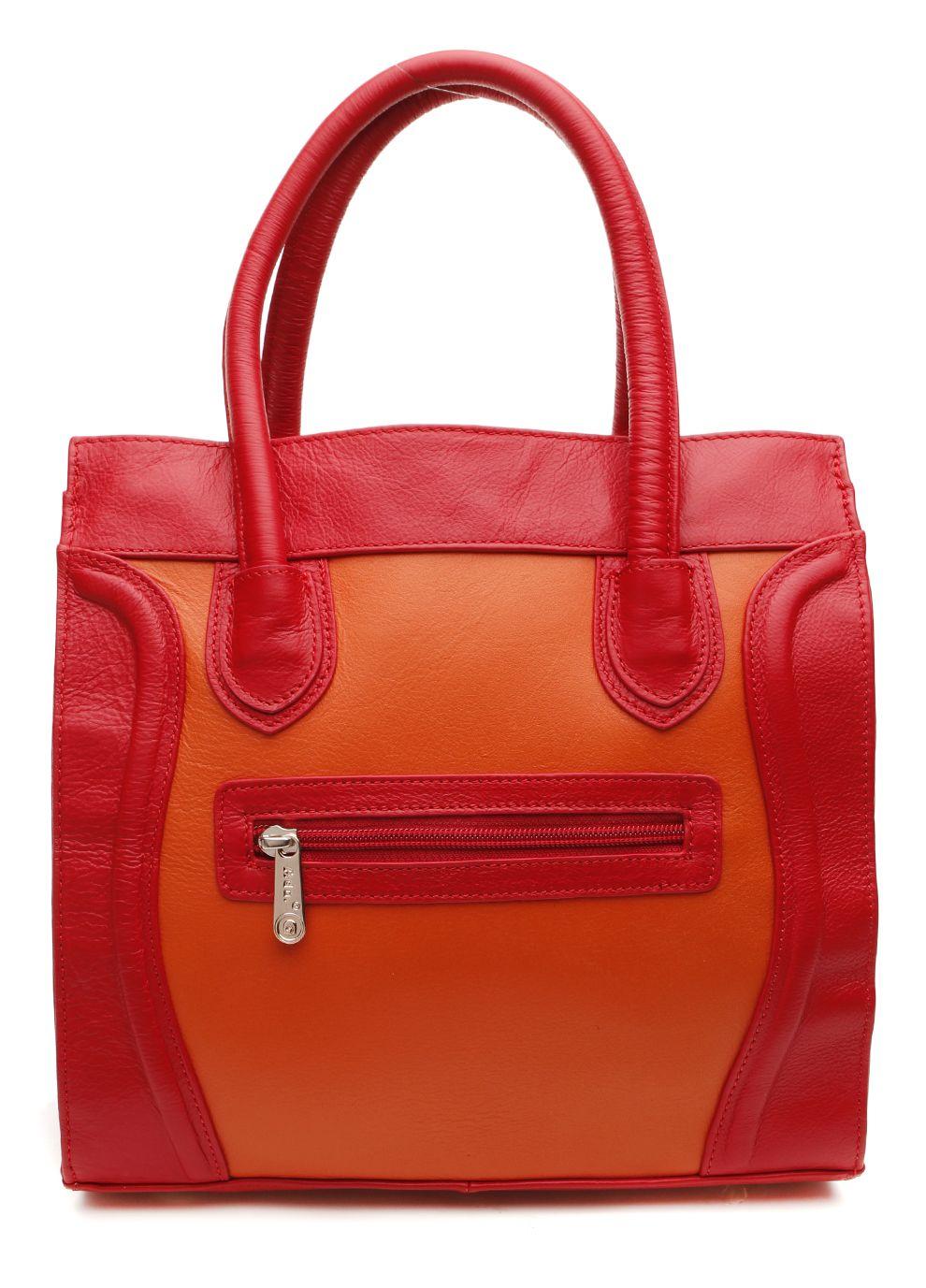 Ada G Handbags Leather Tote Bag Red Orange