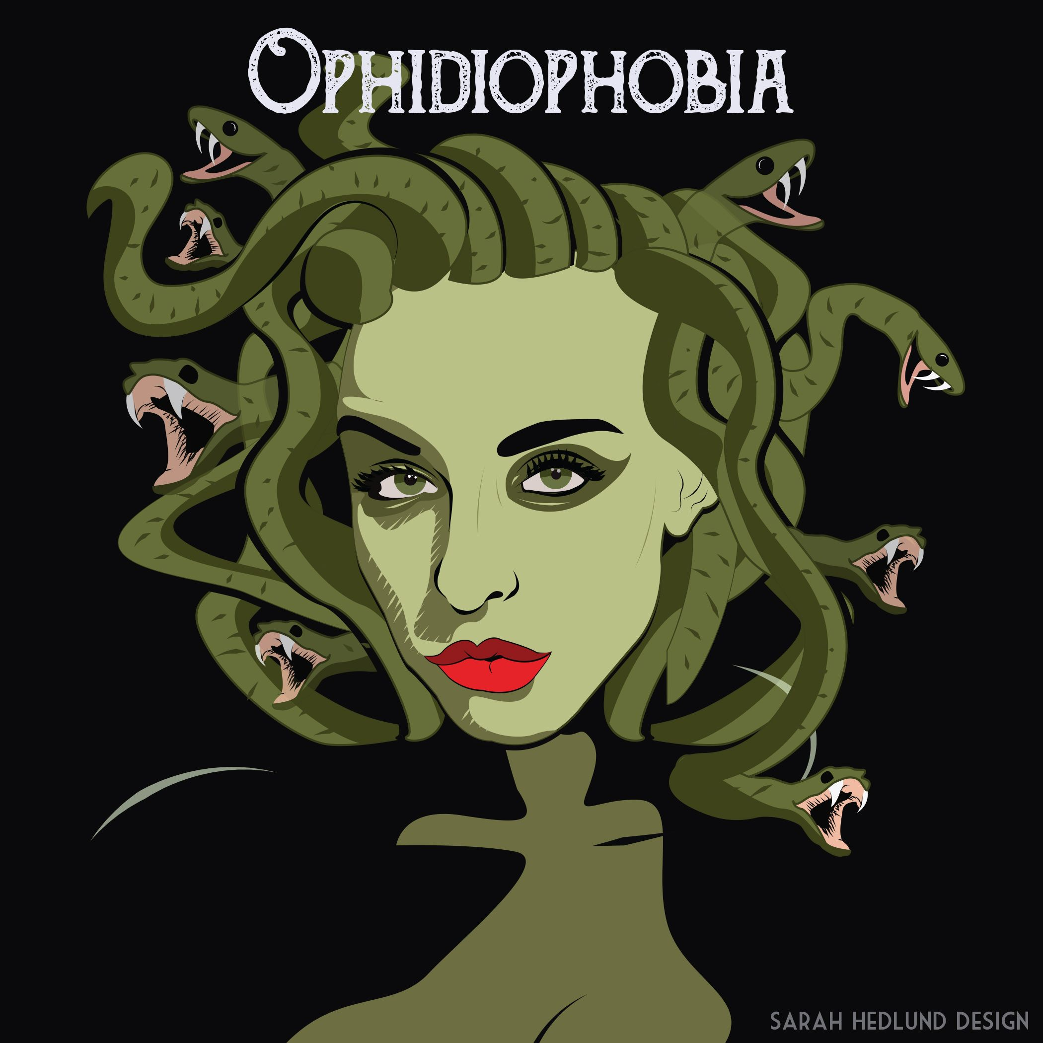 Day 27, Ophidiophobia: Fear of Snakes #31daysofhalloween #halloween #snakes #medusa #phobia #fear  www.sarahhedlund.com