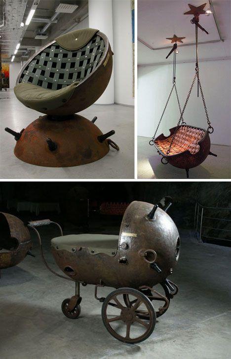 (WWII Sea Mines Repurposed Furniture