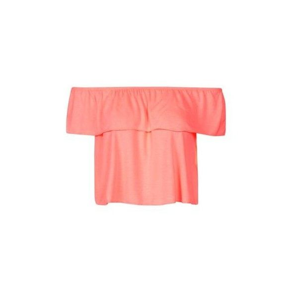 a027503e1673ee TopShop Off-the-Shoulder Bardot Blouse (£14) ❤ liked on Polyvore featuring  tops, blouses, fluro coral, topshop blouse, off shoulder ruffle top, red  off the ...