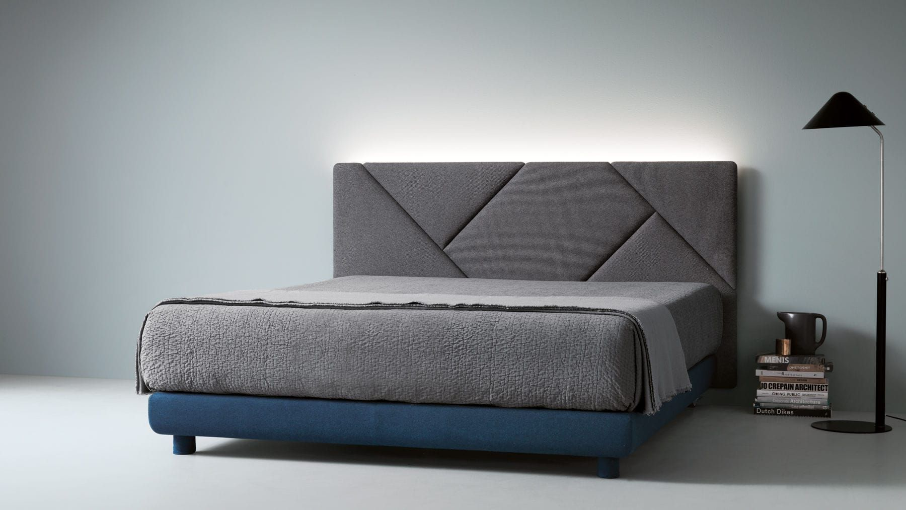 Double Bed Contemporary Fabric Upholstered Opus By