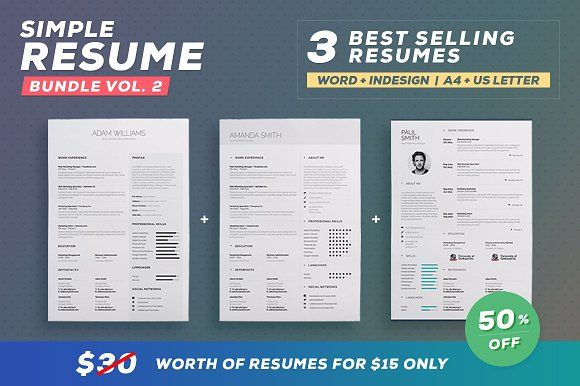 Simple ResumeCv  Bundle Volume  By Theresumecreator On